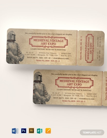 vintage expo ticket invitation template