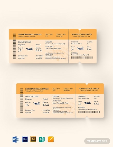 vintage style airline ticket design