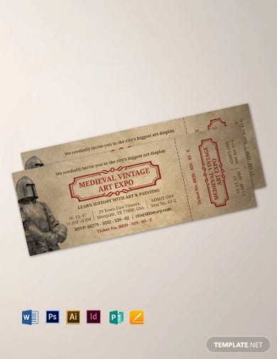 vintage ticket invitation template