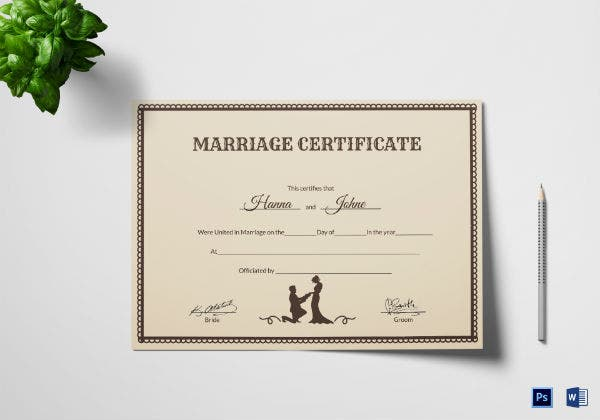vintage wedding certificate template