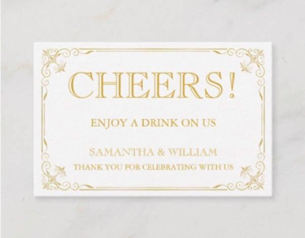 vintage wedding drink ticket