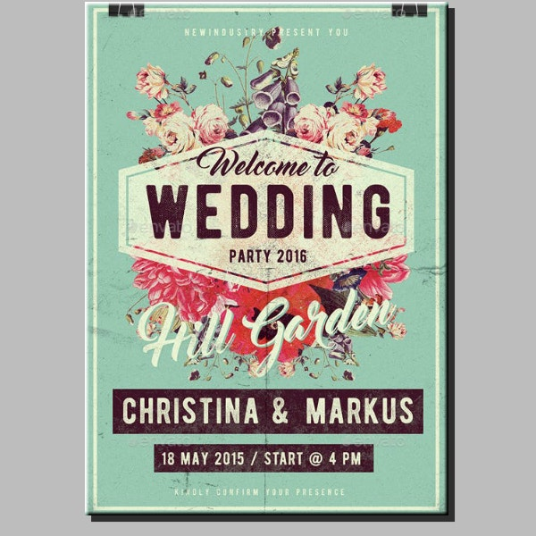 vintage wedding garden poster format