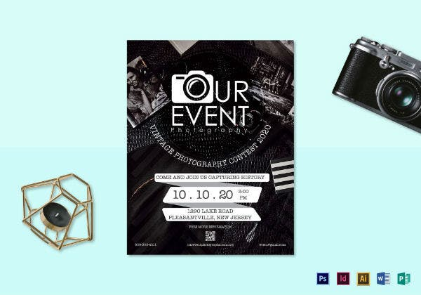 vintage wedding photography event flyer template