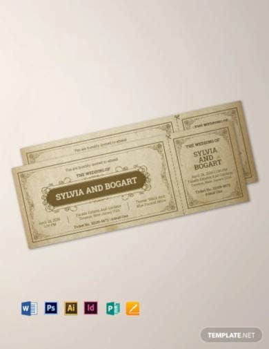 vintage wedding ticket template