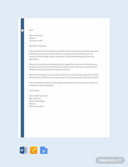 volunteer reference letter template