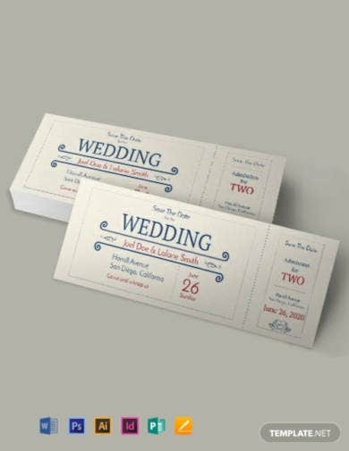 wedding admission ticket in psd