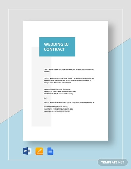 wedding dj contract template