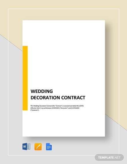 wedding decoration contract template