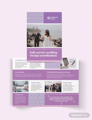 wedding event bi fold brochure template