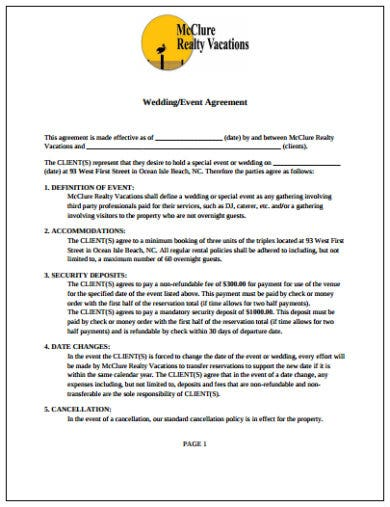 wedding event contract agreement template
