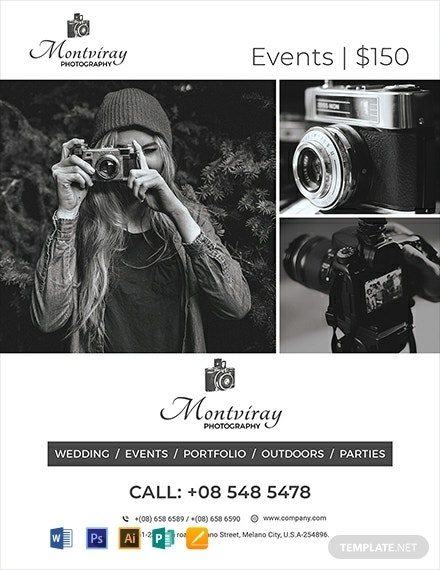 wedding event photography flyer template
