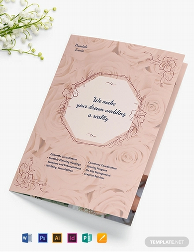 wedding event planner bi fold brochure template