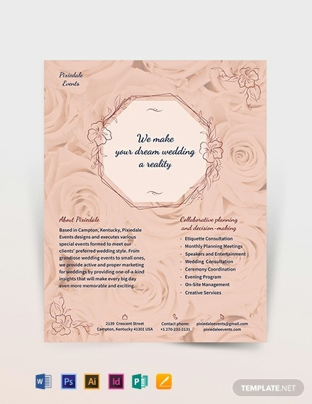 wedding event planner flyer example