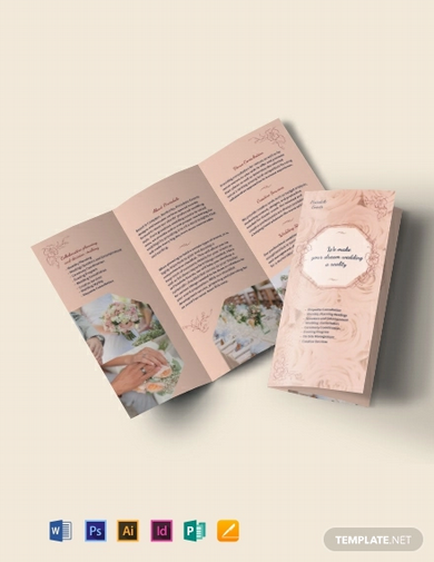 wedding event planner tri fold brochure template