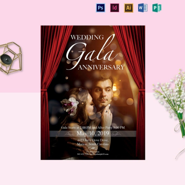 wedding gala anniversary flyer layout