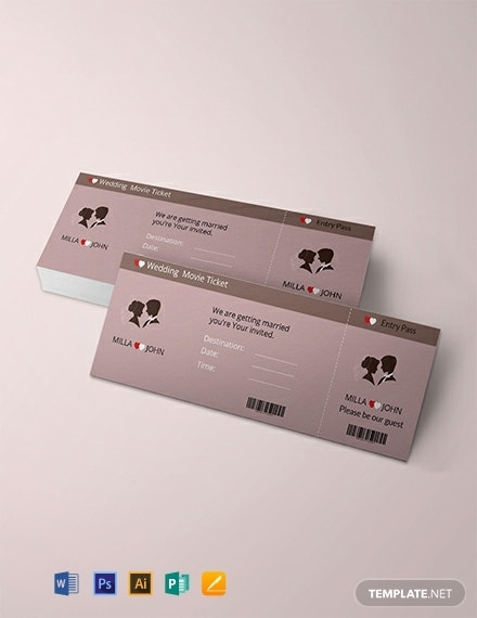 wedding invitation movie ticket layout
