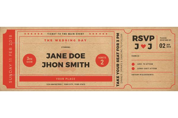 wedding invitation movie ticket
