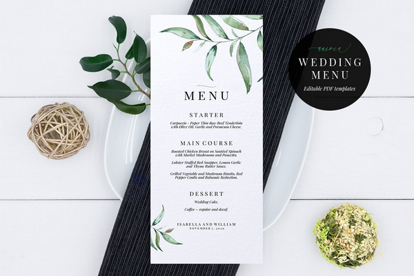 wedding menu template aurora