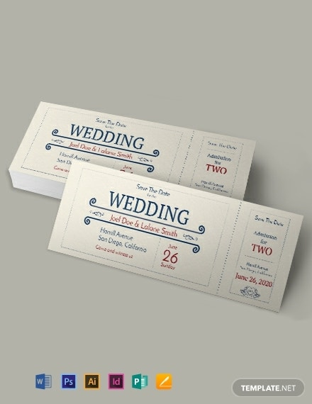 wedding party admission ticket template