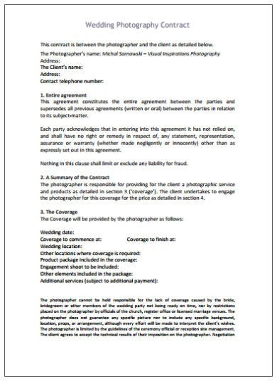 wedding photography contract agreement template
