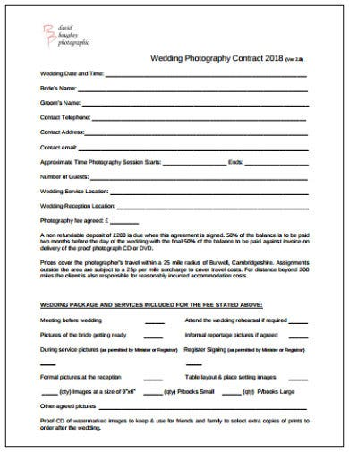 wedding photography contract sample template