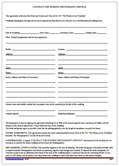 wedding photography services contract template