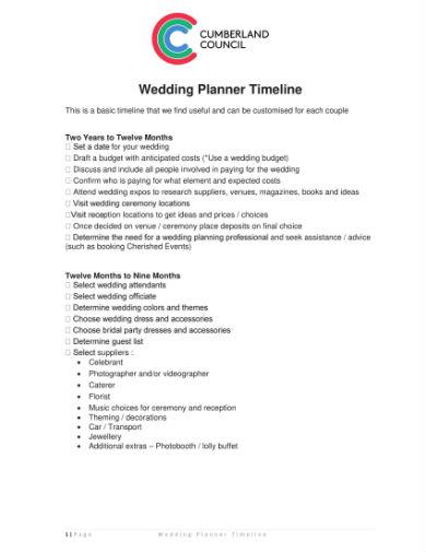 wedding planner timeline 1