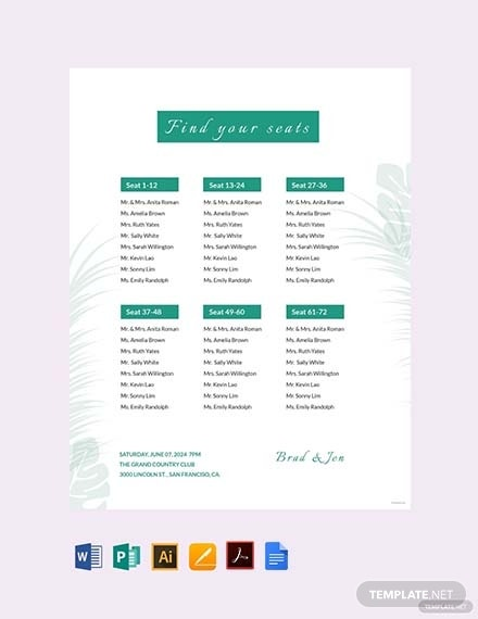 wedding reception seating chart template 1