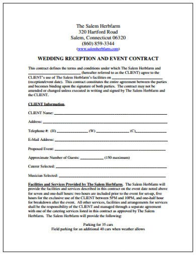 wedding reception and event contract template