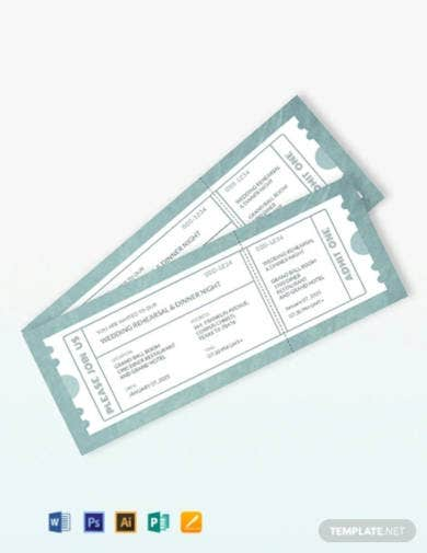 wedding rehearsal dinner ticket