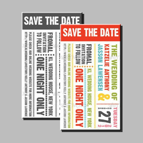 wedding save the date ticket sample
