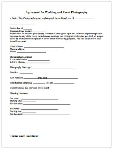 wedding and event photography agreement contract