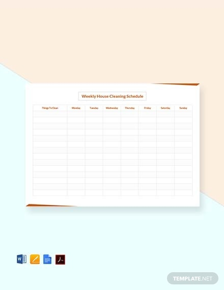 weekly house cleaning schedule template1