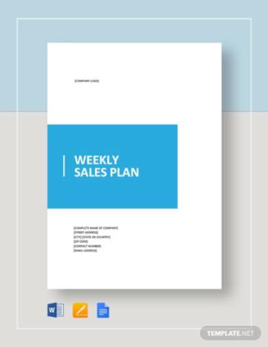 weekly sales plan