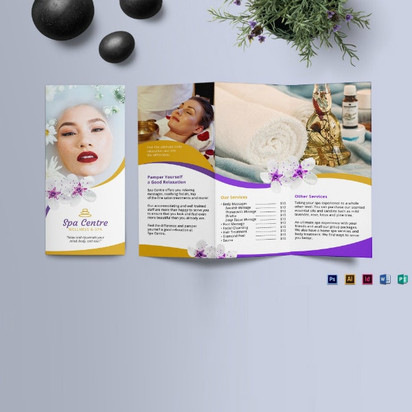wellness spa trifold brochure design
