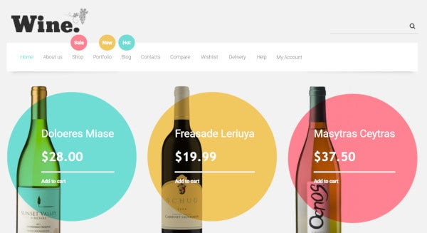 winestore – custom wordpress theme