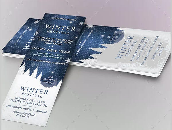 winter festival ticket template