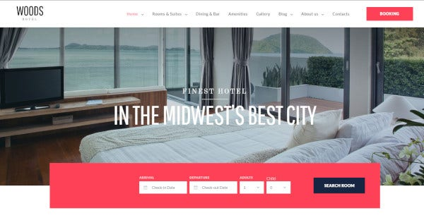 Woods Hotel - Drag and drop WordPress Theme