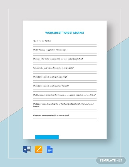 worksheet target market