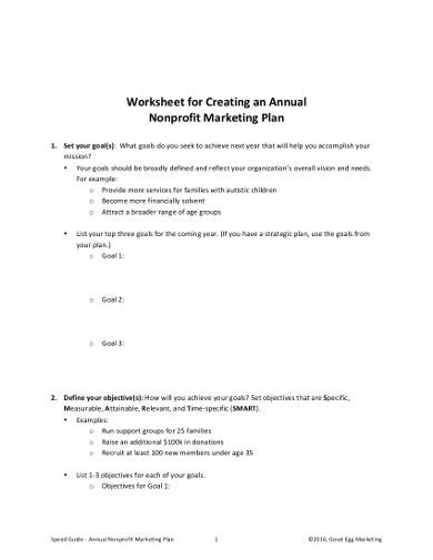 worksheet for creating an annual nonprofit marketing plan