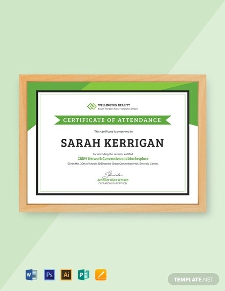 workshop attendance certificate template