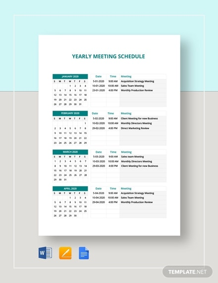 yearly meeting schedule