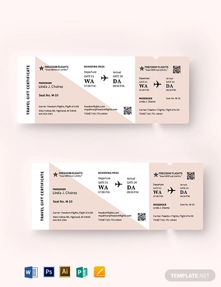 airline ticket gift invitation