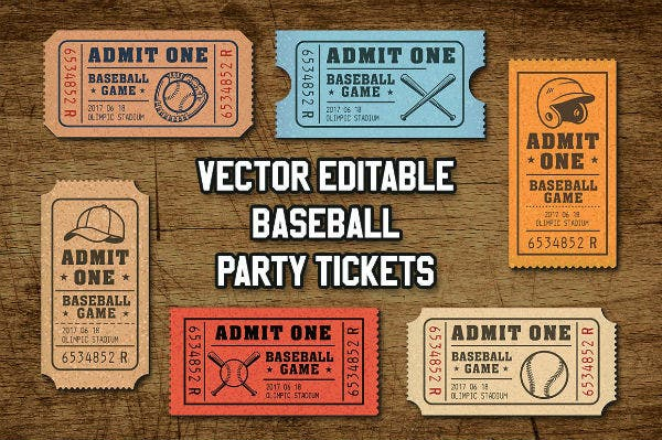 baseball ticket sample