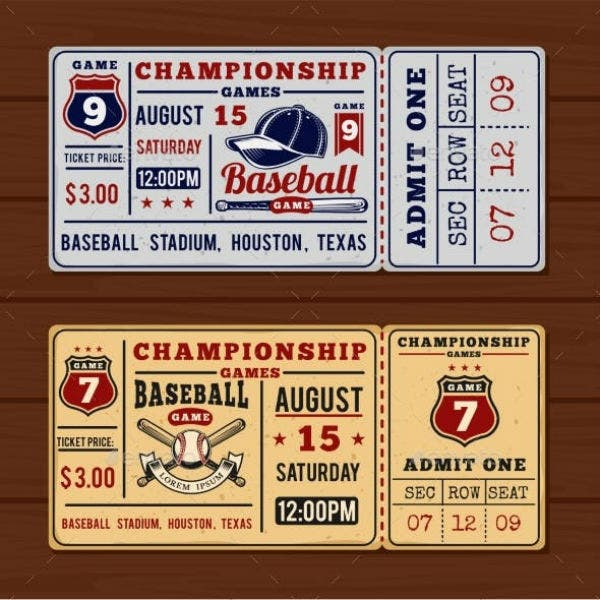baseball ticket template