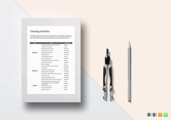 cleaning checklist template mockup