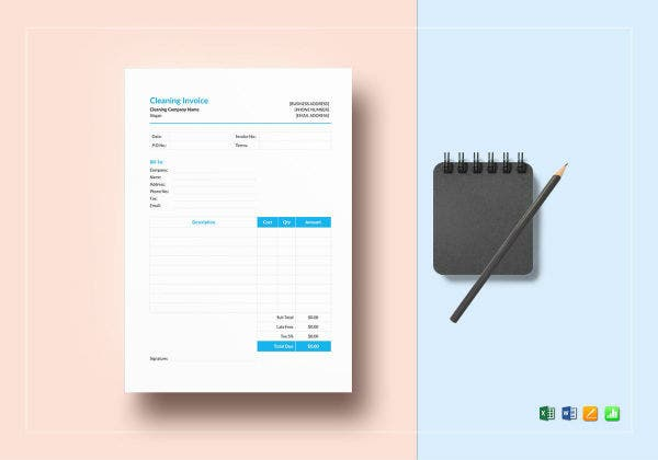 cleaning invoice mockup