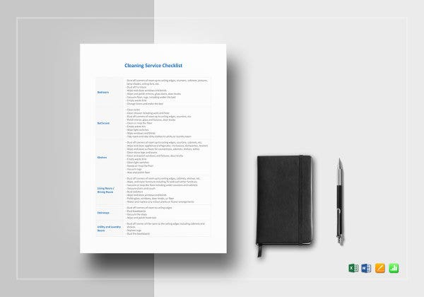 cleaning service checklist template mockup