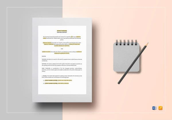 coaching contract template mockup