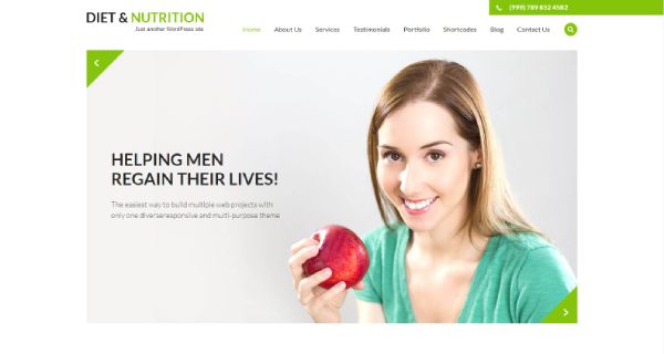 Diet and Nutrition – Font Awesome WordPress Theme